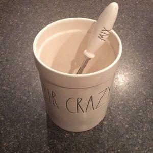 Rae Dunn STIR CRAZY utensil holder and MIX wisk